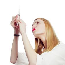 Free Pretty Nurse With Syringe Stock Image - 20970671