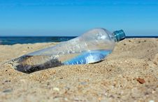 Water Bottle On Sand Royalty Free Stock Image