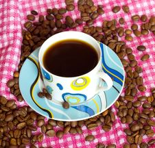 Cup Of Cofee With Cofee Beans Stock Photography