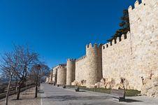 Free Defensive Walls Tower At Avila, Spain Royalty Free Stock Image - 20971266
