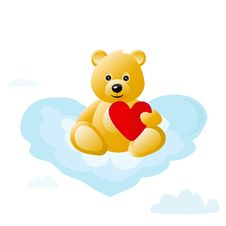 Free Teddy Bear On Cloud Royalty Free Stock Images - 20971749