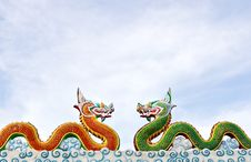 Free Two Thai Dragon Statue Royalty Free Stock Images - 20972599