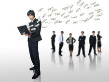 Businessman Got Money On Laptop Stock Photography