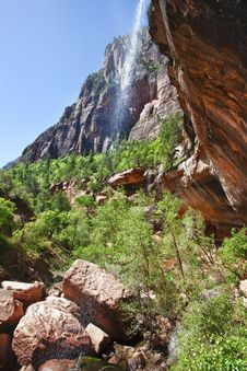 Waterfall In The Zion Canyon National Park, Utah Royalty Free Stock Photos