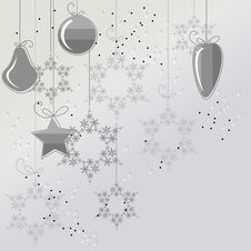 Free Christmas Background With Balls And Snowflakes Stock Images - 20973444