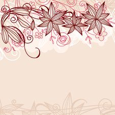 Floral Pastel Frame With Contour Flowers Royalty Free Stock Photos