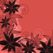 Free Floral Red Frame With Contour Flowers Stock Photo - 20973570
