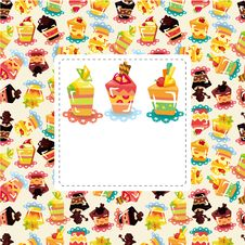 Free Cartoon Cake Card Royalty Free Stock Images - 20973949