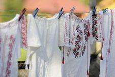 Free Romanian Shirts Hanging Stock Photography - 20974272