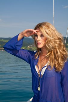 Free Blond On The Yacht Royalty Free Stock Photo - 20974325