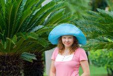 Free Beautiful Young Women Wearing Bright Blue Hat Stock Photos - 20975613