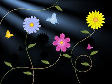 Free Flowers And Butterflies Royalty Free Stock Photos - 20977058