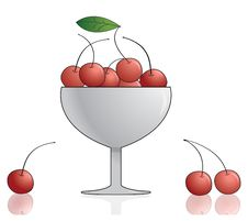 Free Cherry In Bowl. Vector Illustration. Stock Image - 20977501