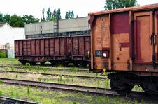 Old Trains In A Trainyard Royalty Free Stock Photos