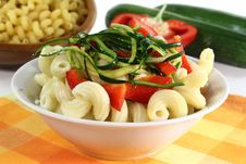 Pasta With Red Pepper Zucchini Vegetable Royalty Free Stock Image