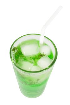 Free Green Cocktail With Herb Isolated, Top View Royalty Free Stock Image - 20979576
