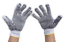 Free Hands In Fabric Protective Gloves Isolated Royalty Free Stock Photos - 20979698
