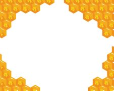 Free Orange Background About Honeycombs. Vector Royalty Free Stock Photography - 20979837
