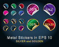 Free Set Of Circle Metallic Stickers For Business Stock Photography - 20980292