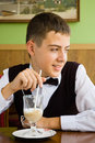 Free A Teenager Boy Enjoying Coffee In A Cafe Stock Photos - 20982383