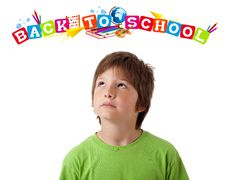 Free Boy With Back To School Theme Isolated On White Stock Photography - 20980192