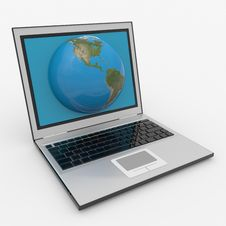 Free Globe Into Laptop Screen Stock Photo - 20980530