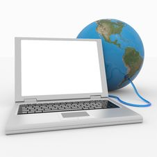 Free Laptop Connected To The Earth Sphere. Royalty Free Stock Photos - 20980538