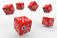 Flying Red Cubes With Percents Stock Photos