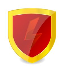 Red Power Symbol On The Gold Emblem Royalty Free Stock Photography