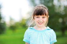 Free Outdoor Portrait Of Cute Child Girl In Blue Jacket Stock Images - 20980844