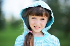 Outdoor Portrait Of Cute Child Girl In Blue Jacket Royalty Free Stock Images