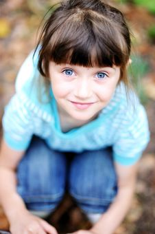 Outdoor Portrait Of Cute Child Girl In Blue Jacket Stock Images