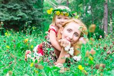 Free Beautiful Girl With Mother In The Meadow Stock Photos - 20982033