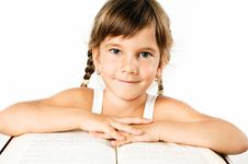Free Student Girl With A Big Book Isolated On White Stock Photography - 20982432