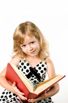 Free Smartlittle Student Girl With A Big Book Isolated Royalty Free Stock Photography - 20982467