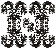 Free Decorative Floral Pattern Black Royalty Free Stock Photos - 20982488