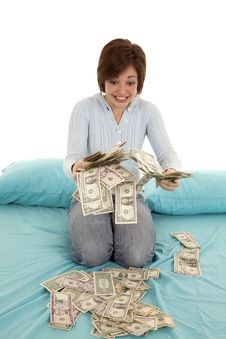 Free Handful Of Money Bed Stock Image - 20984561