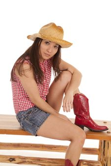 Free Cowgirl Bench One Leg Up Stock Image - 20985621