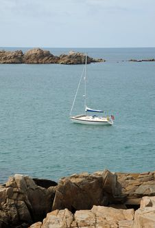 Yacht In The Bay. Guernsey Stock Photography