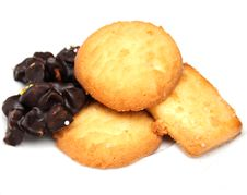 Baked Biscuits And Chocolate Stock Photos