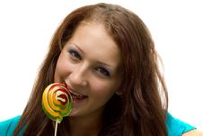 Free Lovely Young Woman With Lolipop Stock Photography - 20987722