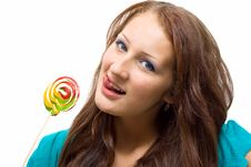 Free Lovely Young Woman With Lolipop Royalty Free Stock Image - 20987996