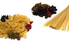 Two Heaps Of Gigli Pasta And Spaghetti Brunch Royalty Free Stock Image