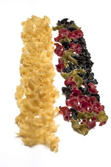 Two Stripes Of Gigli Colored Pasta Stock Photos