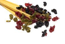 A Few Gigli Colored Pasta And Spaghetti Stock Photos