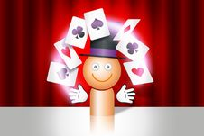 Free Magician With Cards Royalty Free Stock Images - 20990199