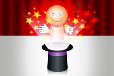 Free Magician With Hat And Stars Royalty Free Stock Photo - 20990205