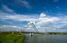 Modern Steel Bridge Over River Stock Image