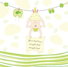 Free Baby On The Rope For Drying, Illustration Stock Image - 20991391