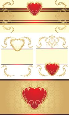 Free Decorative Borders With Hearts For Festive Cards Royalty Free Stock Image - 20992286